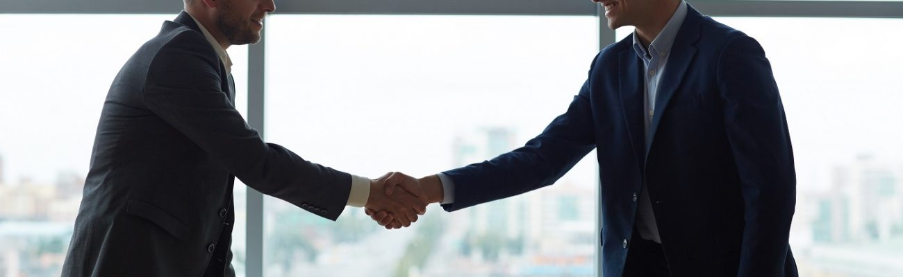 Young business partners handshaking over workplace in office